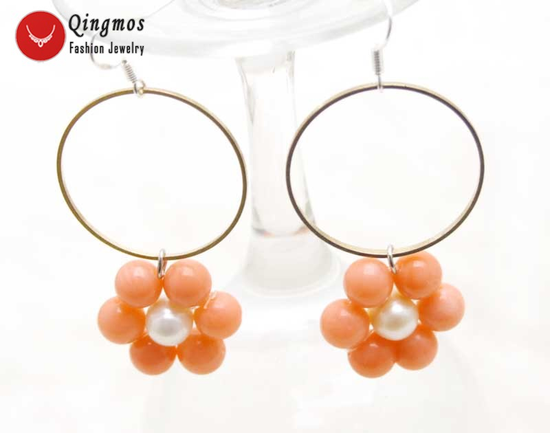 Pearl Earrings in coral and gold metal