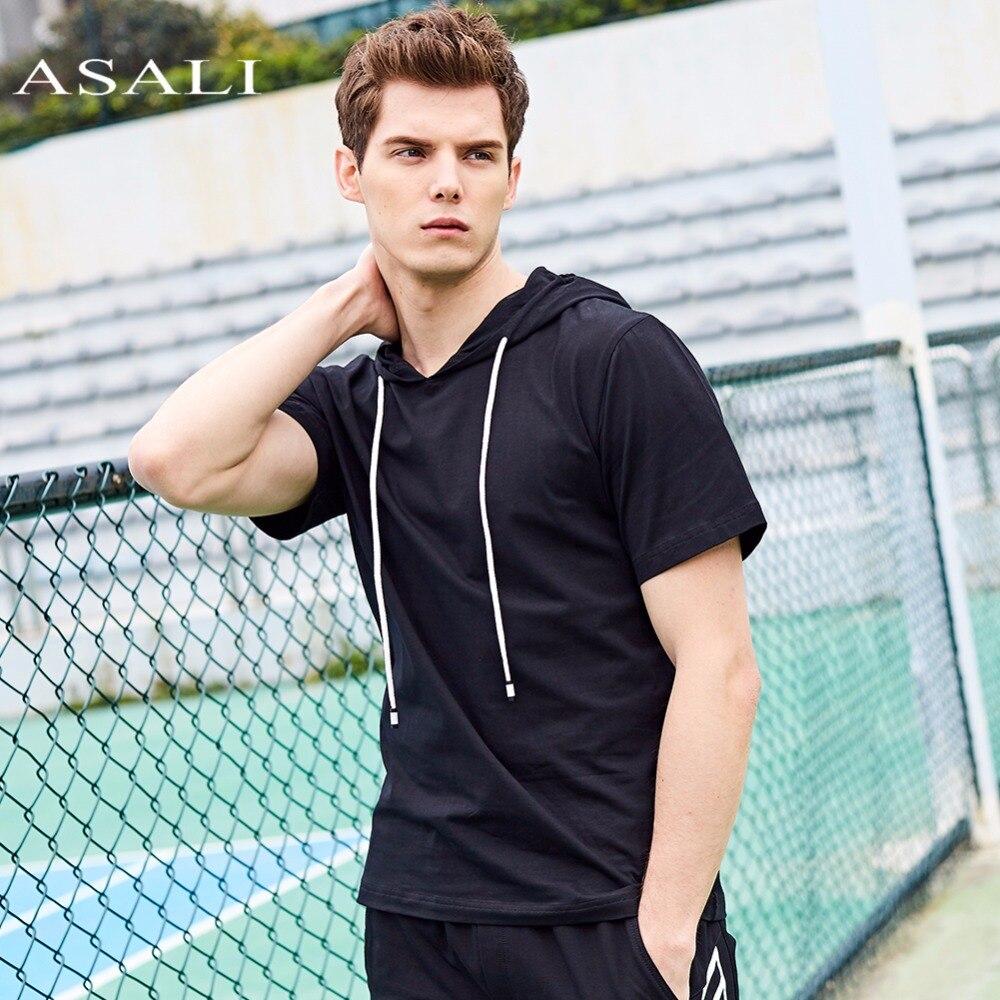 ASALI Brand Hooded Tee Men 2018 Summer Hoodies New Cotton Mens US Size Top Tees Men Solid Color Slim Fit Short Sleeve T shirt