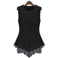 2017 Summer New Fashion Ladies Leisure Pure Color Lace Vest Women S Round Collar Back Zipper