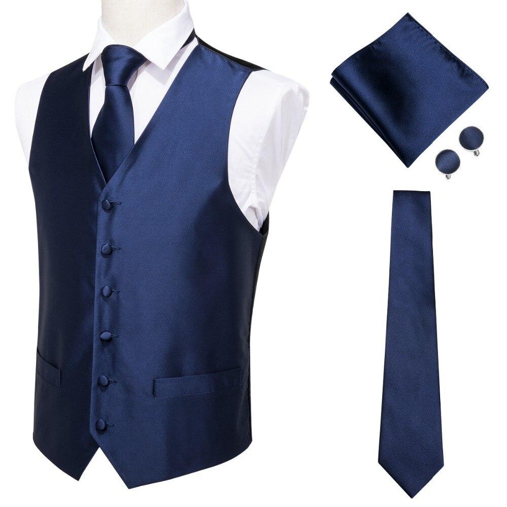 Hi-Tie Men's Classic Blue Silk Jacquard Waistcoat Vest Handkerchief Cufflinks Party Wedding Solid Tie Vest Suit Set MJ-0002