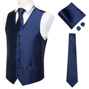 Hi-Tie męski klasyczny niebieski jedwab żakardowa kamizelka kamizelka chusteczka spinki do mankietów wesele stałe krawat garnitur z kamizelką zestaw MJ-0002 tanie i dobre opinie Satyna MJTZ0003 Formalne SILK Vests Silk Waistcoat Vest Smart Casual Formal Blue Vest Suit Set man vest waistcoat men gilet homme black vest
