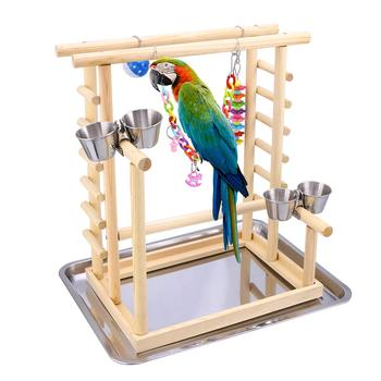 Parrot Playground-Bird Play Stand Cockatiel Playground Wood Perch Gym Play Ladder with Feeder Cups Toys Exercise Play