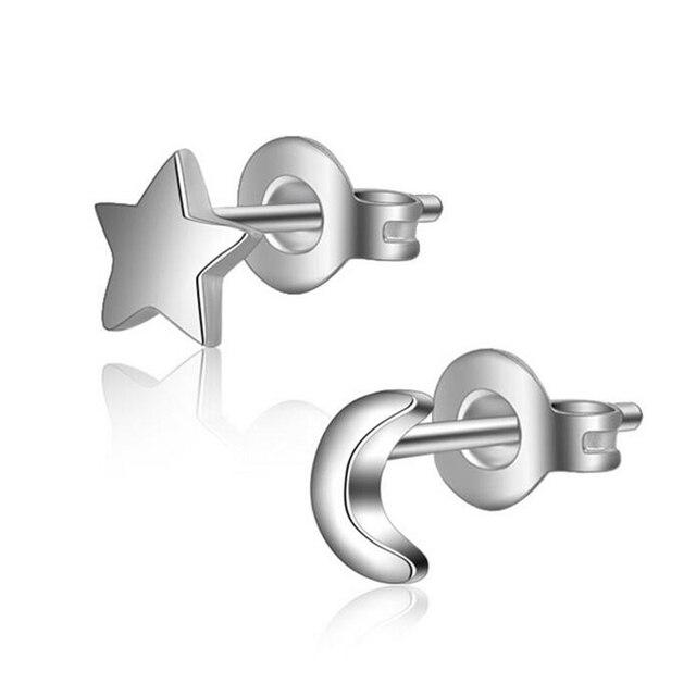 JEXXI European Classic Style Moon Star Asymmetric Stud Earrings For Women Gift Best Sell Silver Earrings Brincos Wholesale