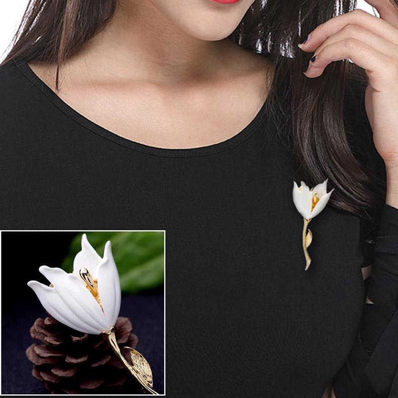 Elegancki biały żywica Lily Boutonniere kwiat tulipana broszki kobiety moda temperament broszka przypinki prezent biżuteria akcesoria