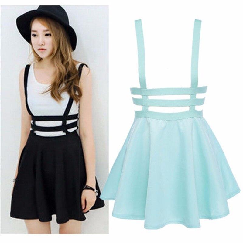 Retro Women Hollow Mini Skater Skirt Summer Cute Suspender Clothes ... 62cad91d8