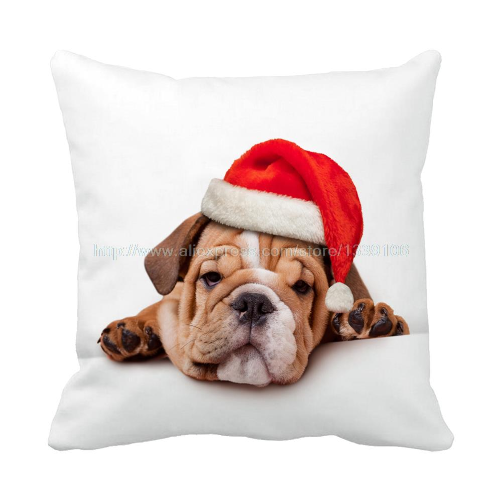To celebrate Christmas red had cute lazy pug dog printed luxury white cushion home decor almofadas decorative pillow sofa bed