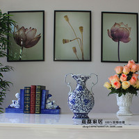 christmas Biaural vase Jingdezhen Ceramic Decoration Gift of Modern Chinese Hand painted Blue White Porcelain Home Decoration