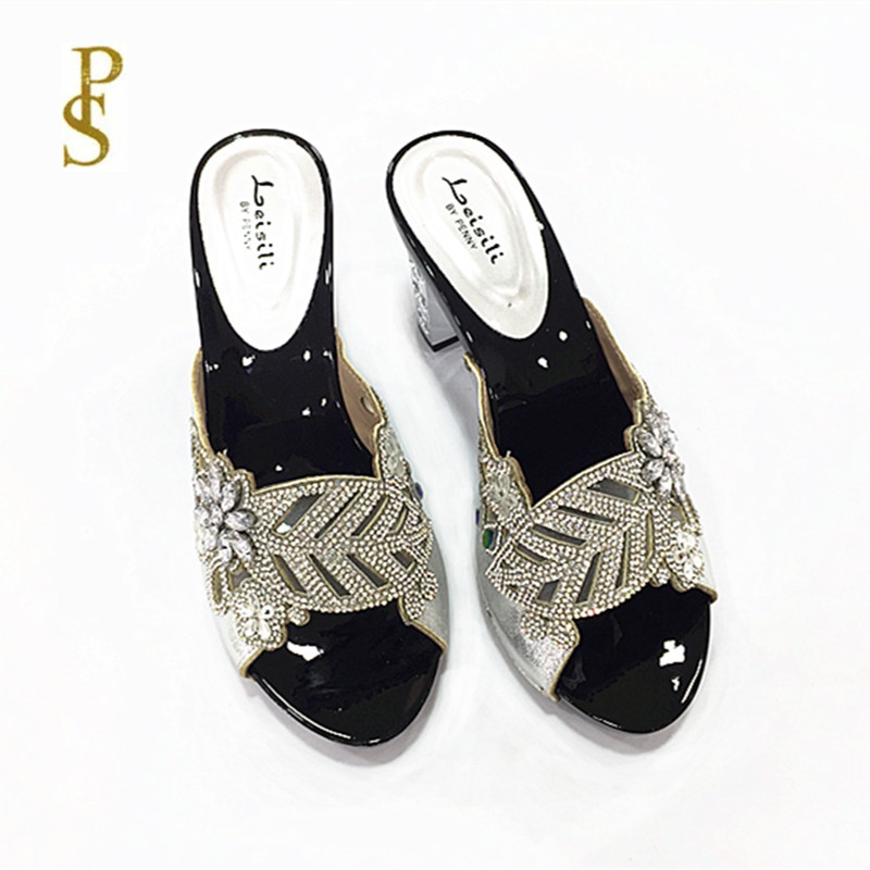 Image 3 - Женская обувь на высоком каблуке, красивая женская обувь со стразами, обувь для вечеринокТапочки   -