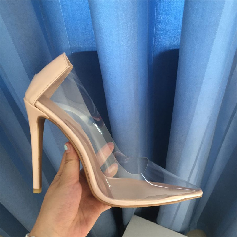 Size 44 Sexy Pvc Clear Women Pumps Pointed Toe Slip On Transparent Bride shoes Women Stiletto High heel Pump 10cm Shoes Woman - 2