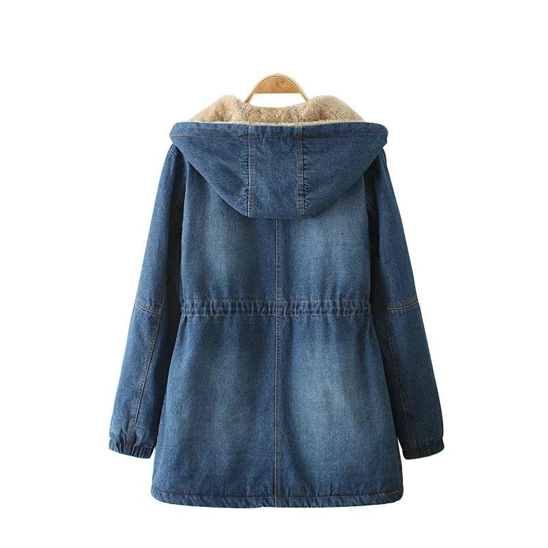 Denim Manteau Grande De Femmes À Manches Moyen Survêtement Veste Femelle Dt0149 Hiver Coton Blue Mode Capuchon Nouveau Taille Chaud Long Longues PpUwFqZ
