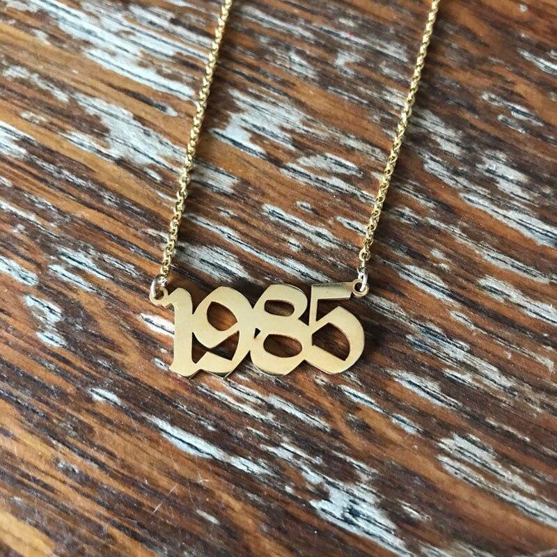 Personnalisé de mariage Date collier anniversaire bijoux 2001 2002 2003 2004 2005 2006 2007 2008 personnalisé naissance année colliers BFF