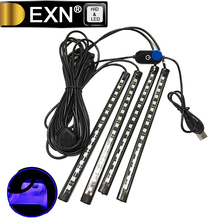 Car Interior Lights 4 Piece 16 LED Car Atmosphere Light Interior Underdash Lighting Kit Auto USB