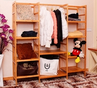The Large Space Wardrobe Clothing Display Rack Clothes Rack Wood Furniture Producing Pure Natural Hair Bamboo