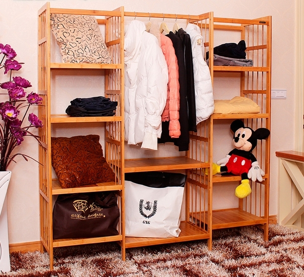 The large space wardrobe clothing display rack, clothes rack wood furniture clothes wardrobe wardrobe steelframe armario ropero
