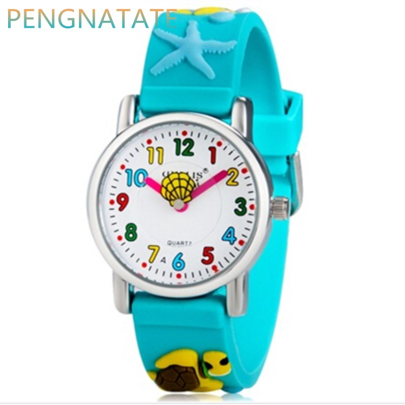 Willis Brand 3D Underwater World Quartz Watches Luksus Brand Vandtæt Børn Qlastic Ure Clock Child Watch PENGNATATE