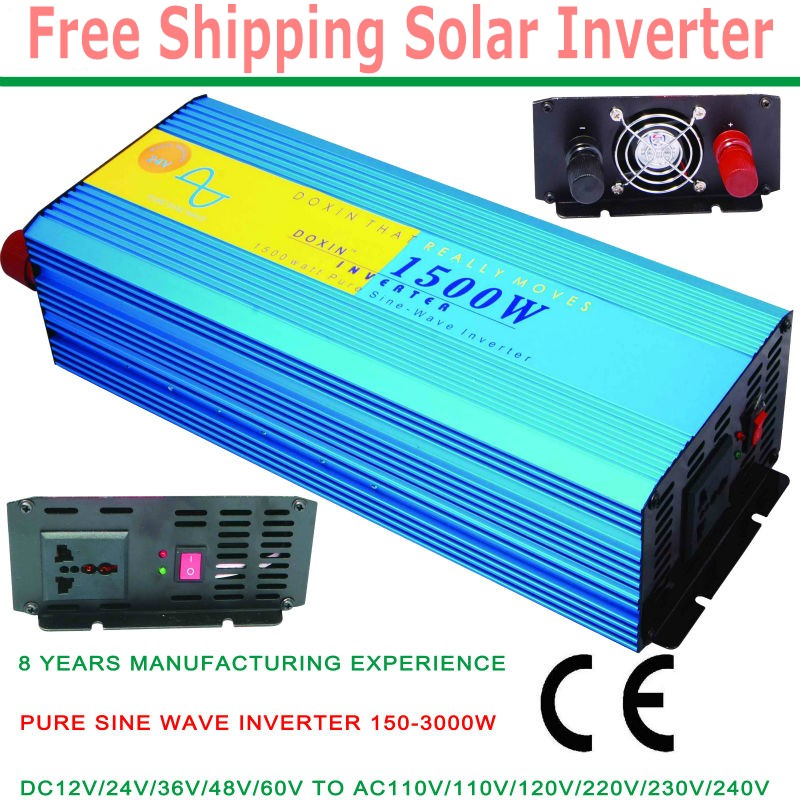 free shipping digital display 1500W Pure Sine Wave Power Inverter Converter 12V DC to 220V AC 3000 Watt Peak