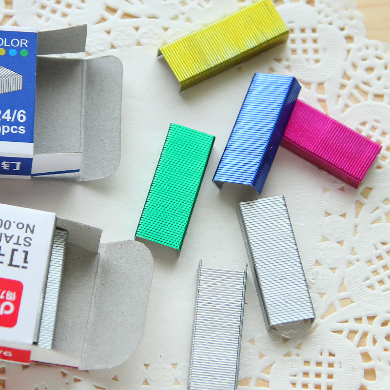 Colorful Staples12# 24/6 Metal Staples Each Pack 4 Colors Metal Staple Office Stationary