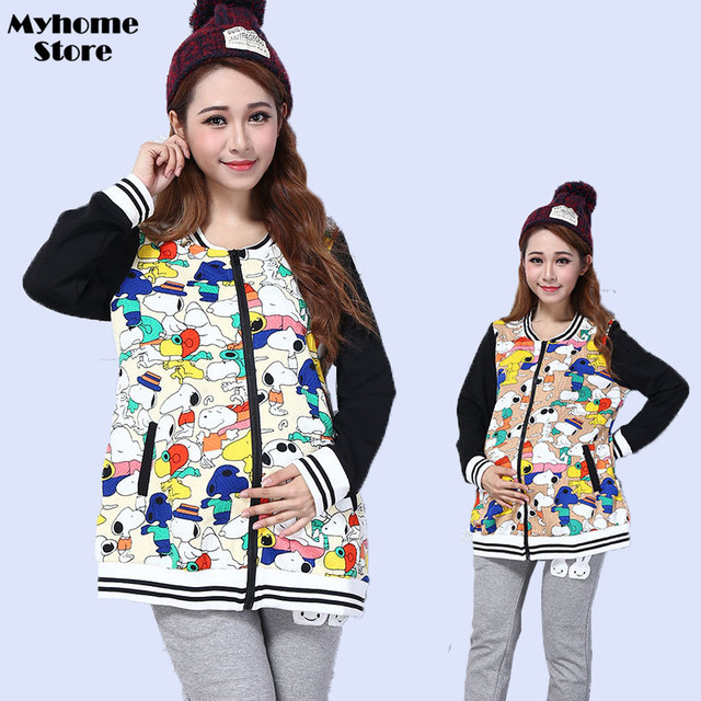 658bb6f2f1400 Free Shipping Plus Size Maternity Clothes Spring Fall Funny Pregnancy  Clothing Long Sleeve Print Cute Women Tops Loose Coats