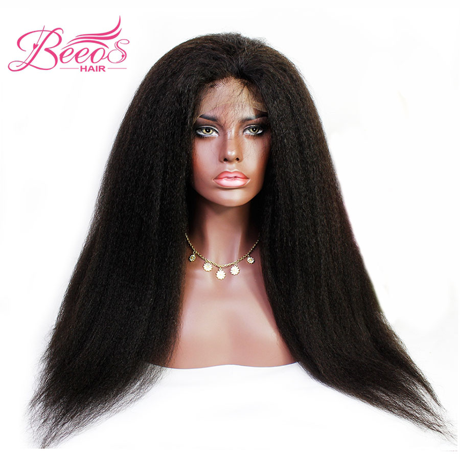 BEEOS 150% Density Kinky Straight Wig Glueless Lace Front Human Hair Wigs With Baby Hair Brazilian Non-remy Hair Bleached Knots