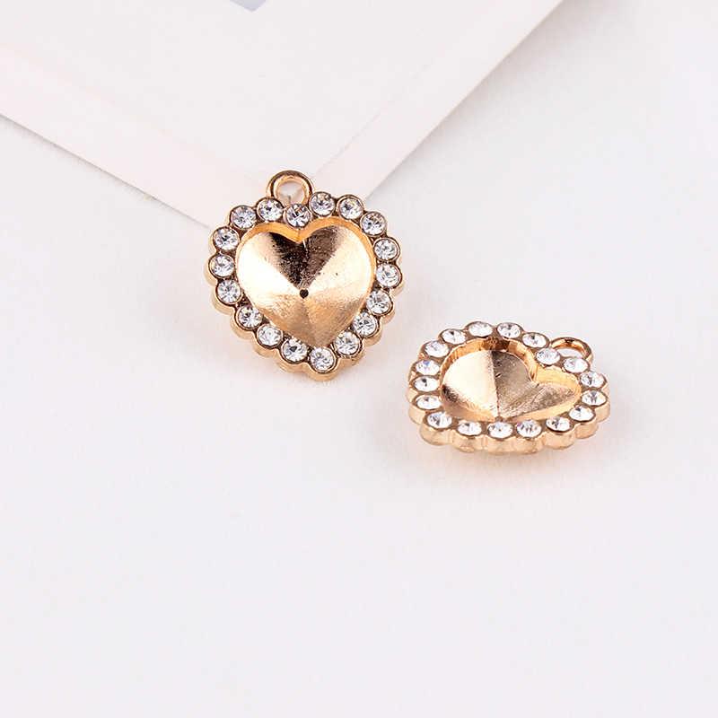 12.5x13.5mm Heart Champagne Gold Pendants Crystal Rhinestone Setting Cabochon Cameo Base Tray Bezel Blank DIY Jewelry  Finding