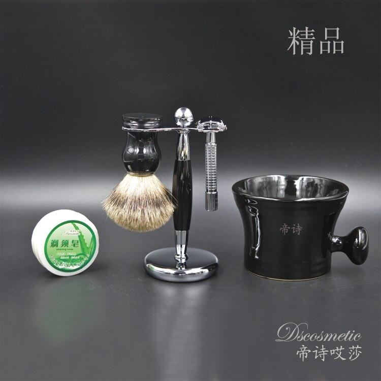 silvertip badger shaving brush set for man,shaving standed,unscrew double-sided razor,shaving bowl mug,shaving soap