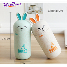 Coffee Cup Cartoon Creative Cute Unique Rabbit Water Bottle Leakproof Portable Hiking Sport Lid Bunny Convenient