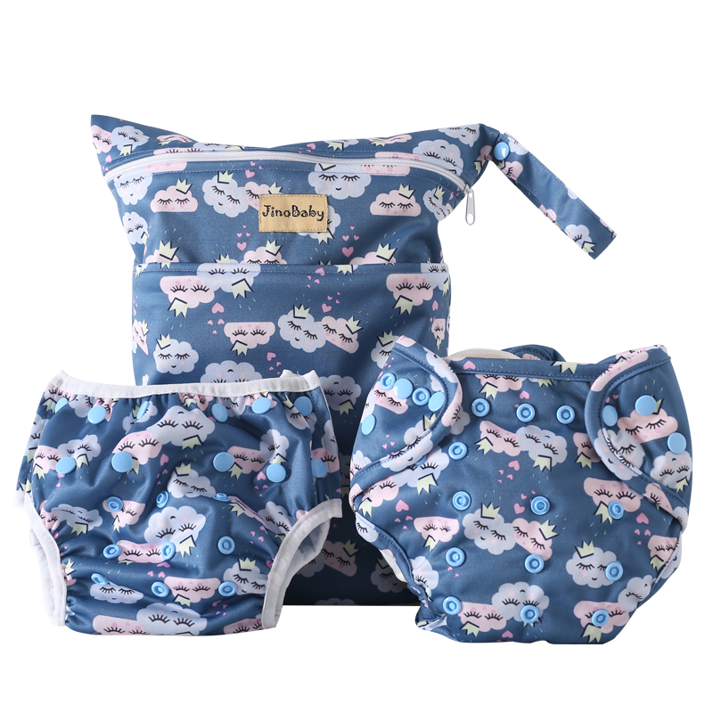 Couple Clouds Reusable Diapers (Bamboo Baby Diaper+Swim Diaper+Diaper Bag) baby diapers double guest charcoal bamboo night sleepy two pockets diaper reusable cloth diapers with sewn insert layer cover