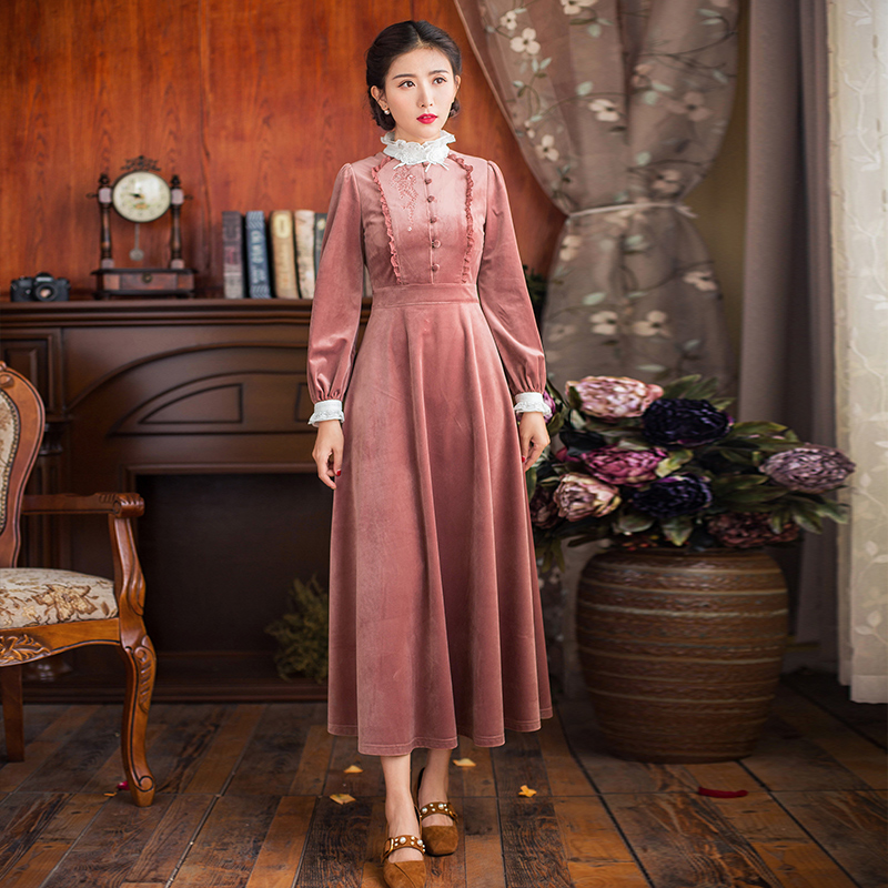 Spring Autumn 2019 Women Pink Velvet Long Maxi Dress Vintage Retro Elegant Lace Long Sleeve Embroidery