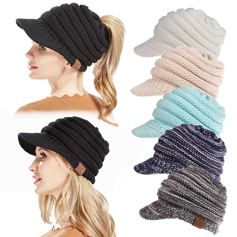 588fc44b68ae2 Fashion Women CC Ponytail Beanie Cap Ladies Winter Solid Warm Knitted Wool Caps  Female Skullies Beanies Hip Hop Knit Hat CP0165