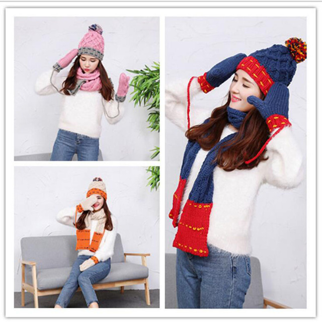 Fashion Winter Hat Scarf Cute Knit Crochet Beanies Cap Hats For Women Warm Scarf And Hat Twist Knitted Hat Shop high quality