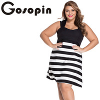 Gosopin Hot Selling Plus Sizes Ladies Black And White Block Stripe Big Girl Skater Dress Cozy