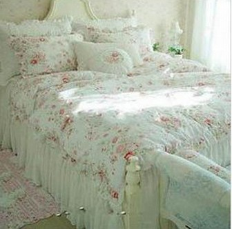 Free Shipping Vintage Red Rose Princess Bedding Set Floral