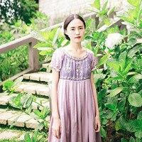 קיץ נשים החדש וינטג צרפתית סגנון פסטורלי מורי ילדה קצרה פאף שרוול רקמת o-nech גבוה מותן loose כותנה ארוך dress