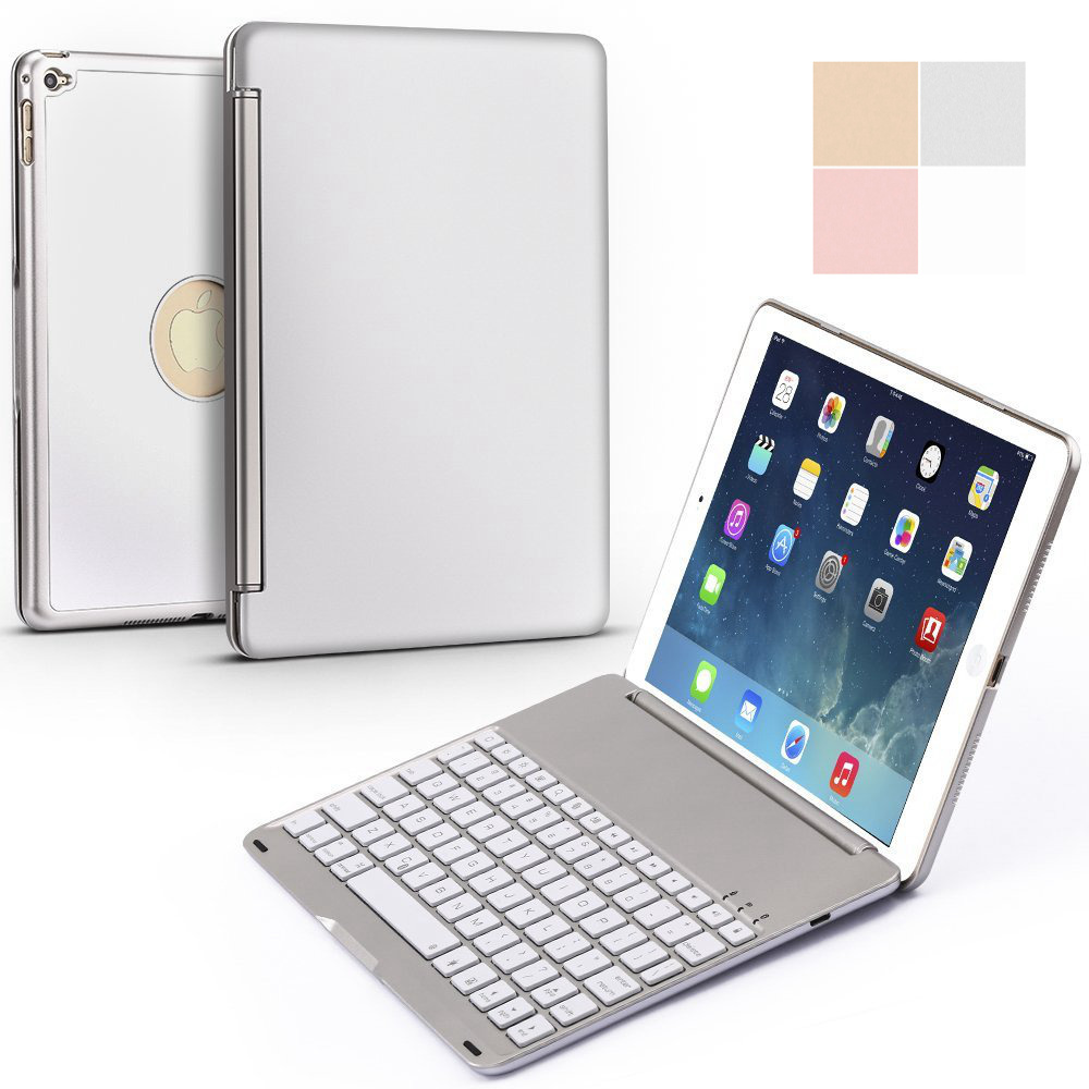 For iPad mini 1/2/3/4/5 Ultra Thin Smart Aluminum Bluetooth Russian/Spanish/Hebrew Keyboard Case Cover With 7 Colors LED Backlit-in Tablets & e-Books Case from Computer & Office