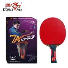 Ikan Double asal 7AC 7stars tenis meja siap raket wenge kayu racquet sukan tulen kayu serangan cepat dengan gelung