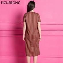 FICUSRONG Fashion orange striped dress women O neck causal dress Spring summer side of the button design dress vestido de festa