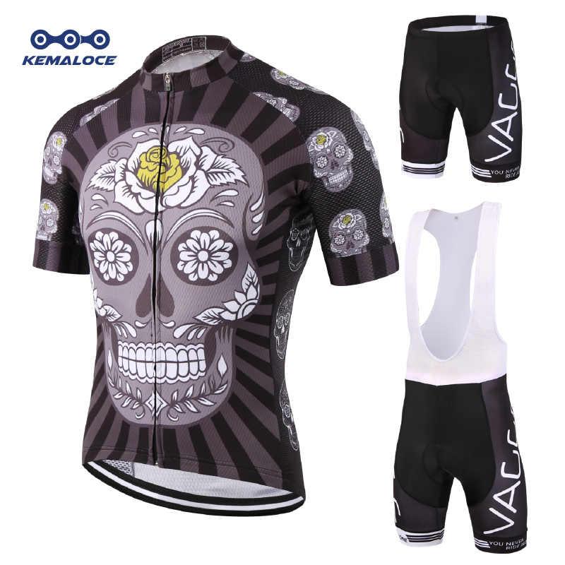 KEMALOCE Skeleton Short Cycling Wear Set Ropa De Ciclismo Maillot Black Bike  Jersey Set Men Gel 0745c4742