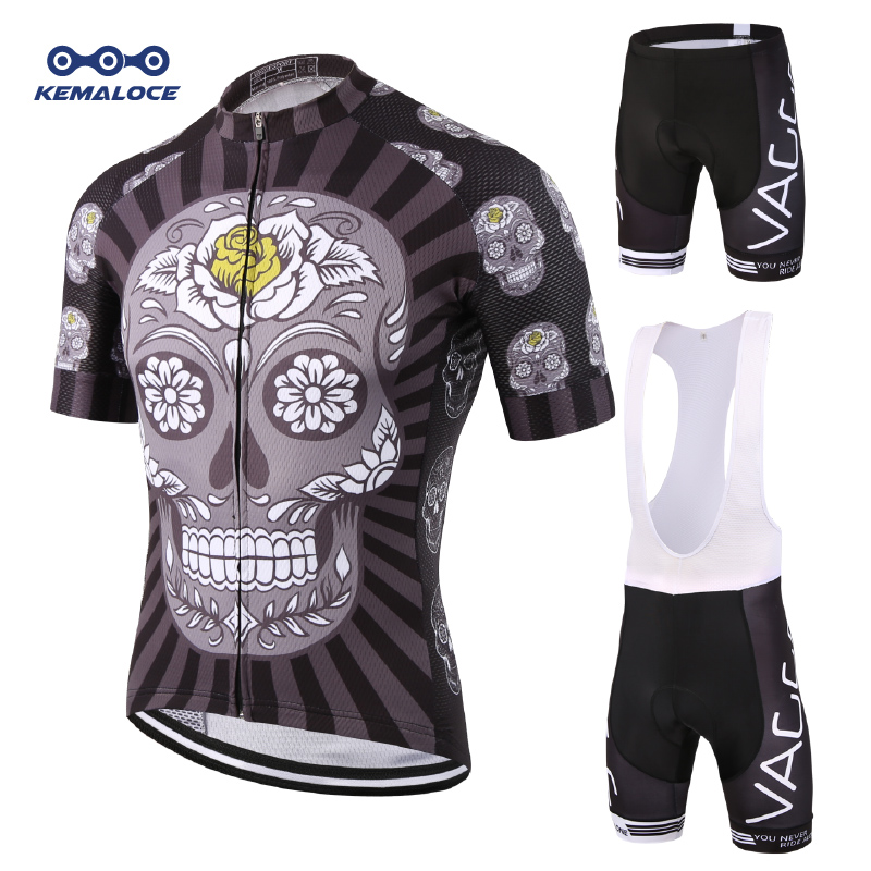 KEMALOCE Skeleton Short Cycling Wear Set Ropa De Ciclismo Maillot Black Bike Jersey Men Gel Pad Breathable Bicycle Clothing Suit