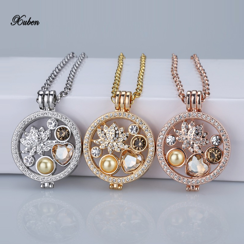Interchangeable Disc Necklace: Rose Gold Interchangeable 35mm Coin Holder Necklace Fit My