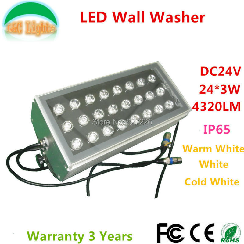 24*3W LED Wall Washer DC24V Outdoor Spotlights IP65 waterproof Flood light buildings projector light Warm White/White 4PCs a lot ultrathin led flood light 200w ac85 265v waterproof ip65 floodlight spotlight outdoor lighting free shipping