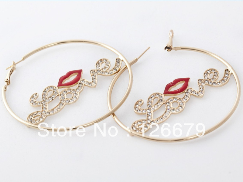 Fashion Crystal Love Words Hot Red Mouthy Hoop Earrings Basket Ball Wives Earrings Jewelry Products In