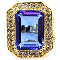 18x13 мм Насыщенный Синий Фиолетовый Танзанит, белый CZ SheCrown Создан Золотой Серебряное Кольцо 25 х 21 мм