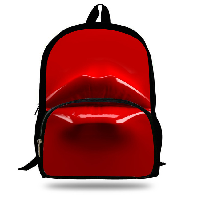 16 inch Kids Character Backpacks School Teenager Sexy Red Mouth ...