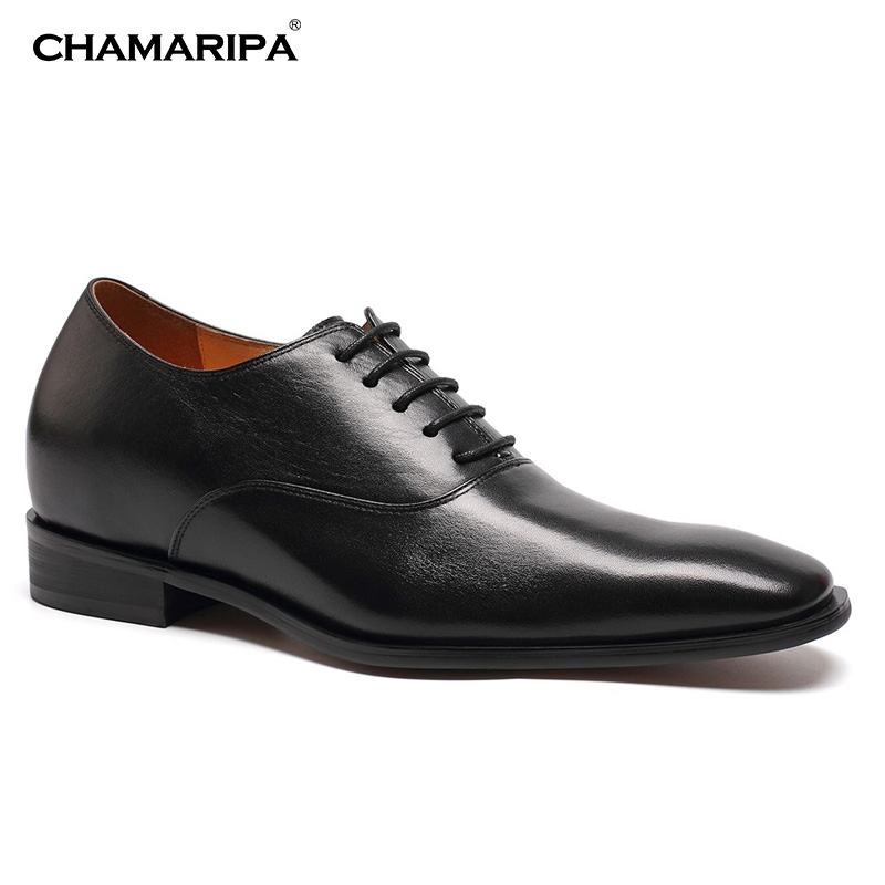 CHAMARIPA Men Elevator Shoes 7cm/2.76 inch Increase Height Taller  Gentlemen shoe Black Leather Wedding Dress Shoes K6532  chamaripa increase height 7cm 2 76 inch taller elevator shoes black mens leather summer sandals height increasing shoes
