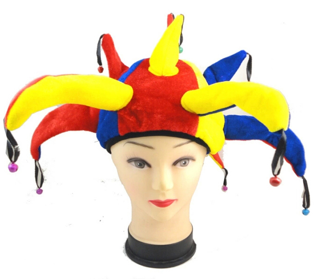 2ff782d05d8 Ox Horn Multi-Colors Clown Hat With Small Bell And Nose Role Play Cosplay  Masquerade Props Carnival Halloween Party Drama Acting