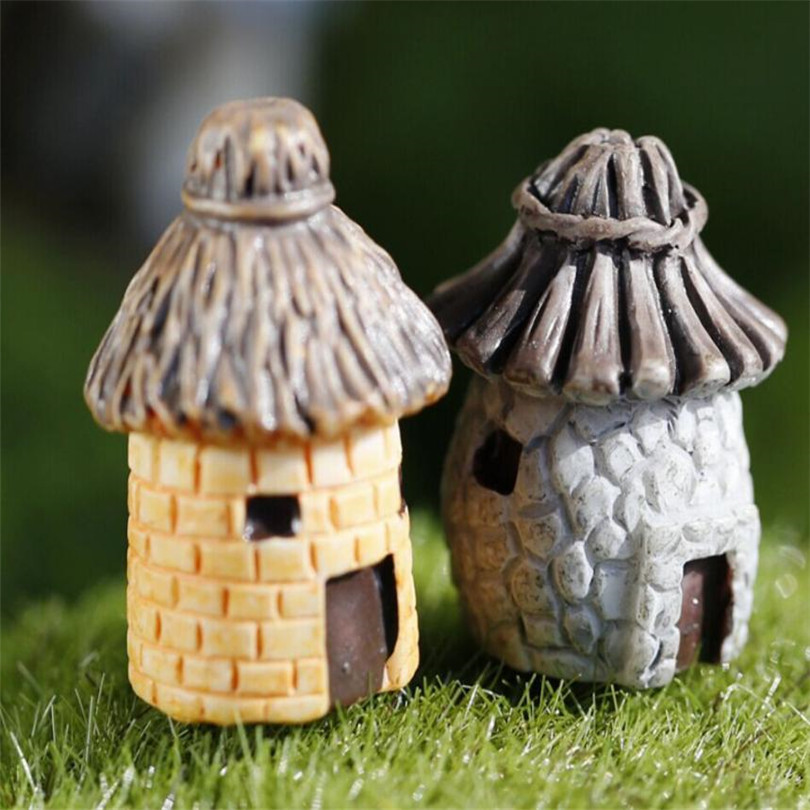 Mini Round Cartoon Expression House Resin Decorations For Home And Garden DIY Craft Cottage Landscape Stylish Decoration A75
