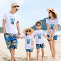 Free Shipping 2017 New Summer Holiday Family Matching Outfits Girl Boy women men Sets cotton short sleeve T shirt & Shorts Pants