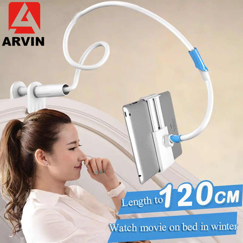 Arvin 120cm Long Arm Adjustable Tablet Stand Holder For IPad Pro IPhone X XS Samsung 4-10.5 Inch Lazy Bed Tablet Mount Bracket