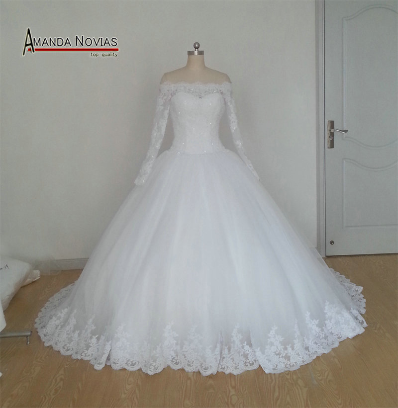 New Model Off Shoulder style Long Sleeve Lace Appliques Wedding Dress 2015