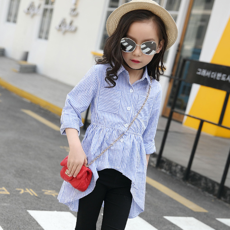 4 5 6 7 8 9 10 11 12 13 Years Girls Blouse Striped Casual Shirt Long Sleeve Autumn Turn-down Collar Kids Blouse Children Clothes stylish ruffled collar long sleeve see through lace blouse for women